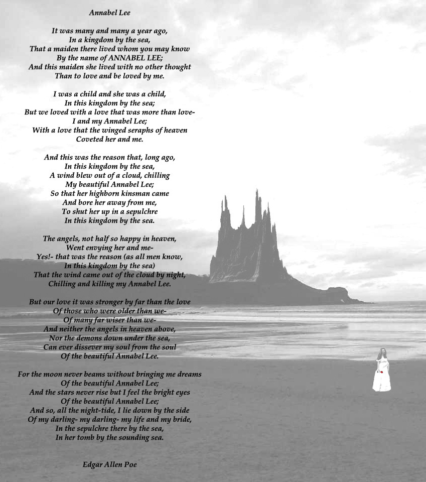 annabel lee essay introduction Essay annabel lee and over other 29,000+ free term papers, essays and research papers examples are available on the website annabel lee was the final poem that writer and poet edgar allan poe wrote before he passed away in 1849 although he sold the rights to the poem while he was alive, it.